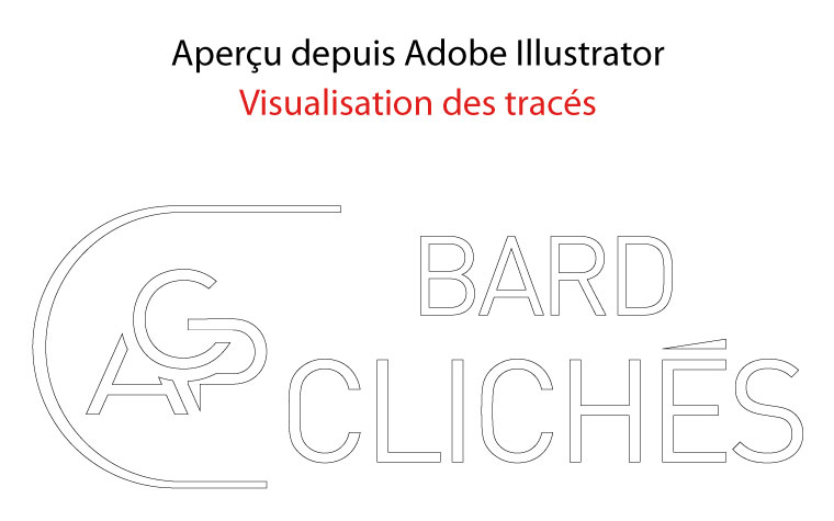 ACP CLICHÉS BARD : aperçu depuis Adobe Illustrator d'un logo vectoriel en visualisation des tracés