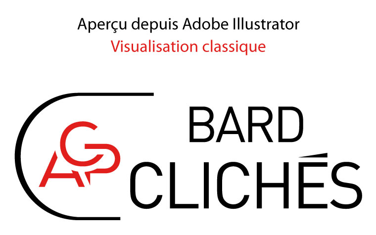 ACP CLICHÉS BARD : aperçu depuis Adobe Illustrator d'un logo vectoriel en visualisation classique